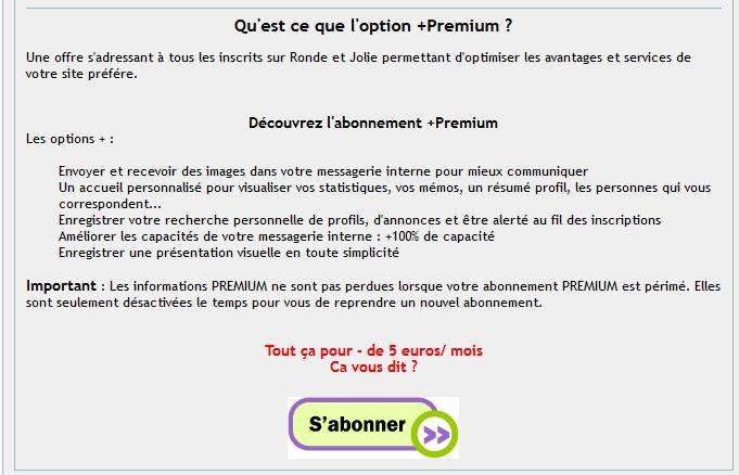 RondeEtJolie - Avantages Abonnement Premium