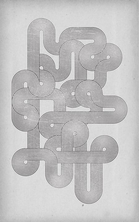 Retro geometric lines poster