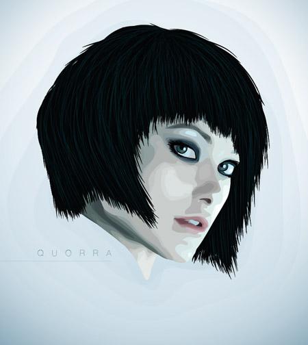 Quorra vexel style vector art portrait