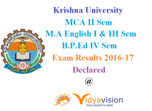 KRU MCA MA English BPEd Results 2016-17