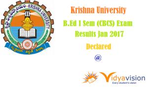 KRU I Sem B.Ed. (CBCS) Exam Results Jan 2017