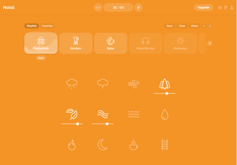 Noisli for staying concentrated and focussed