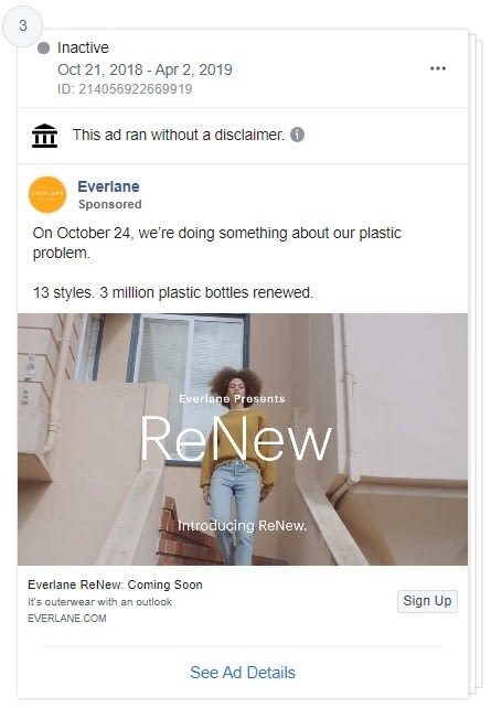 Everlane is showing authenticity and environmental responsibility with their ReNew campaign on Social Media