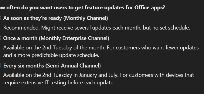 Microsoft Apps for Enterprise – Changing Channels, New Channel and Default changes.