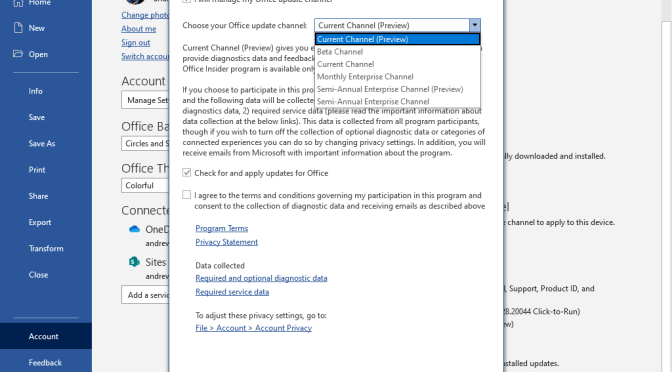 Allowing end-users to change the update channel for Microsoft Office