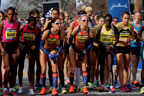 Boston Marathon elite women at starting line