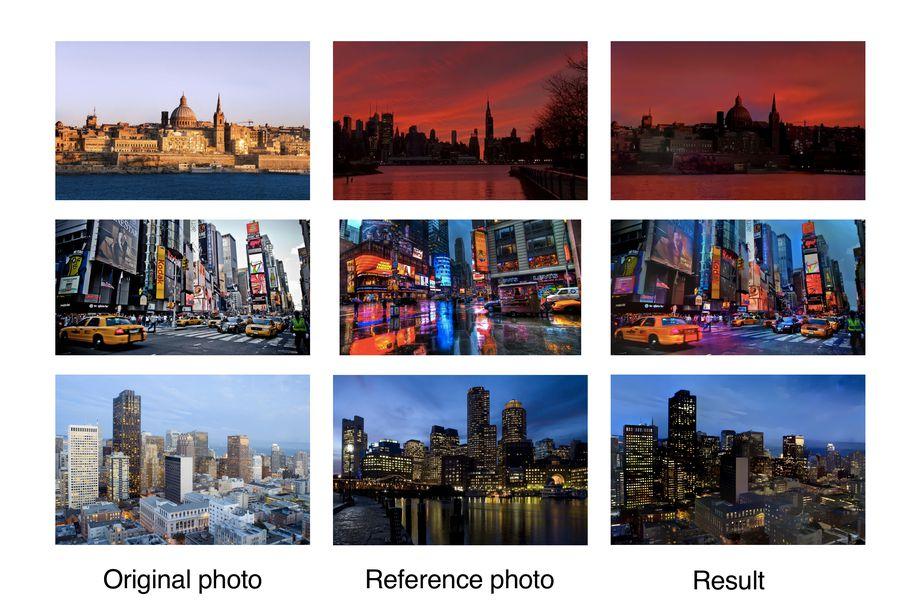 Deep Phoyto Style Transfer: en la primera columna, la foto original. En la segunda, la imagen de referencia. En la tercera, el resultado de la transferencia de estilo.