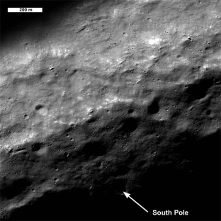 Polo Sud lunare (credit: NASA/GSFC/Arizona State University)