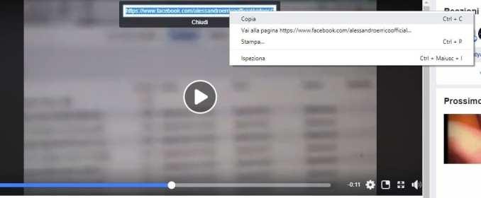 Copia URL video Facebook