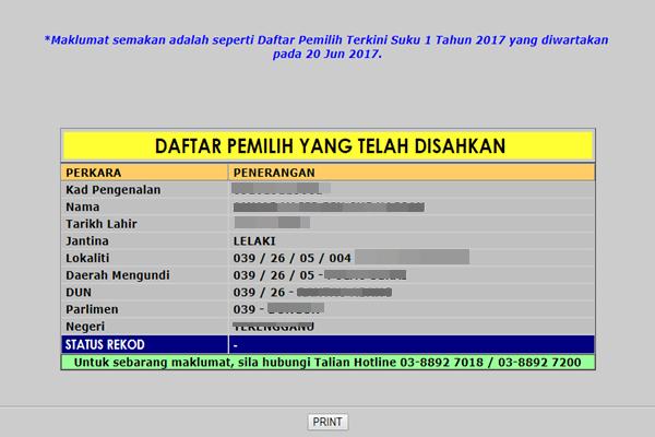 Semakan Daftar Pemilih Online