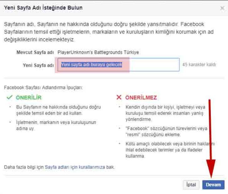 facebook sayfa adı isteğinde bulun