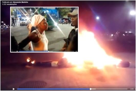 Vídeo mostra trabalhadores ambulantes protestando contra prefeitura e queimando pneus no Rio Vermelho, em Salvador. (Foto Montagem Jamil Souza/ BBG)