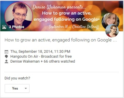 Denise Wakeman Hangout