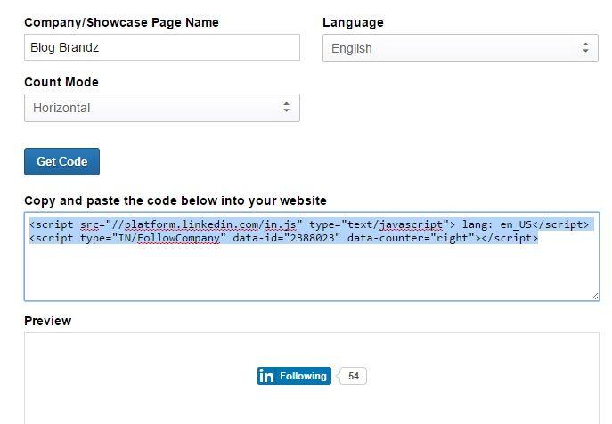 LinkedIn Follow Button Code