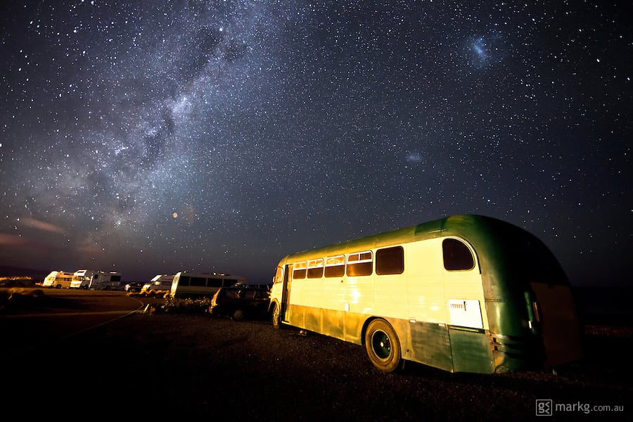 Freedom Camping in New Zealand is quite common. It's a great way to save money on accomodation & site fees, and you get enjoy the great outdoors & all that New Zealand has to offer. These freedom campers are parked at Red Rocks on the south coast of Wellington and if they were awake, they probably would have been quite amazed to see the clarity in the sky above so close to the capital city.