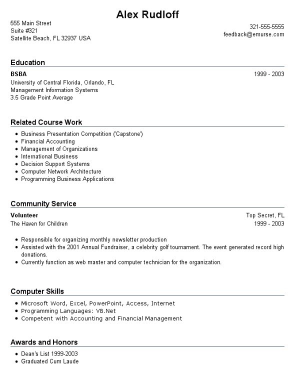 resume examples for no work experience high school students work