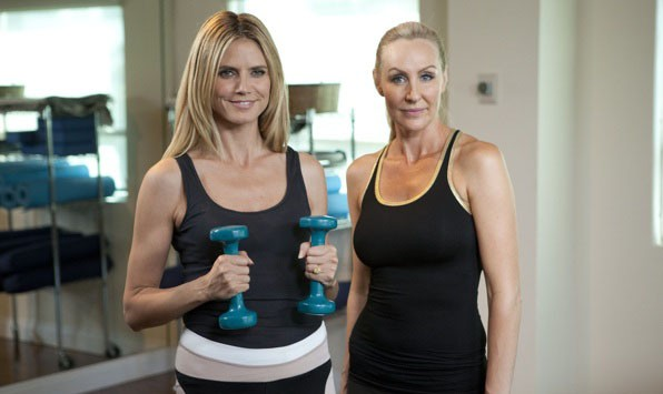 Heidi and Andrea lifting arm weights