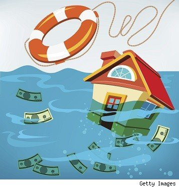 underwater home with life saver and money floating in water