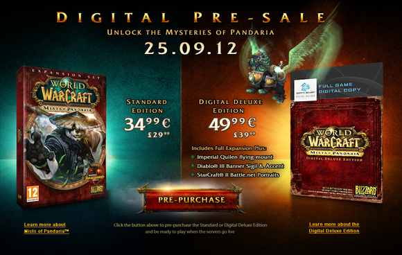 Mists of Pandaria pre-purchase now available
