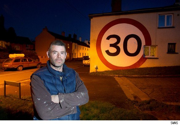 devon man massive 30mph sign