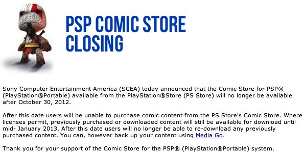 Sony shuts down PSP Comic Store after October 30th, leaves North Americans in the lurch