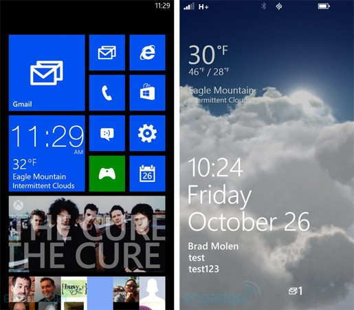 Windows Phone 8 home and lock screens