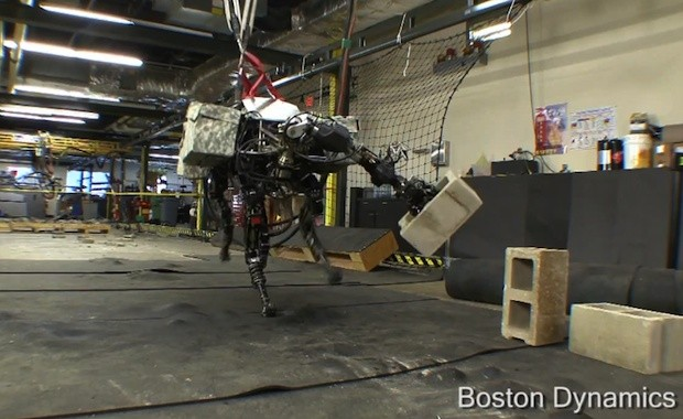 BigDog fourlegged robot adds an arm, shows it off for the scouts video