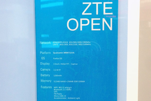 ZTE Open, the company's first Firefox OS phone, gets a full spec sheet at MWC