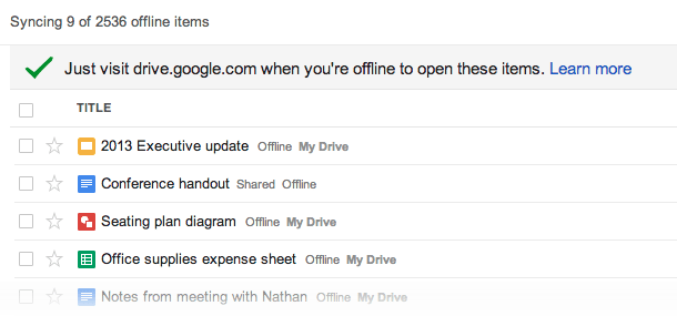 Offline Google Drive now automatically saves files, lets you create and edit drawings