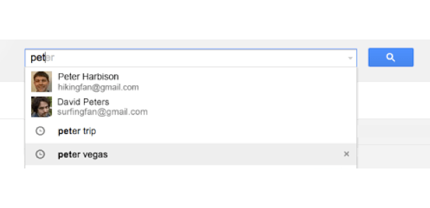 DNP Gmail improves autocomplete predictions by adding search history results and contact thumbnails