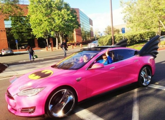 Visualized Sergey Brin rides pink Teslamobile Model S, complete with Chromed out rims