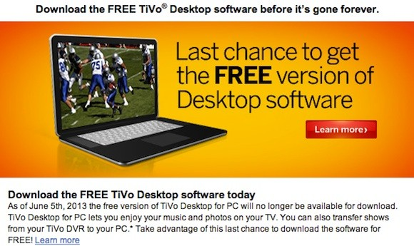 TiVo Desktop's free PC version disappears June 5th, $16 Plus version will remain