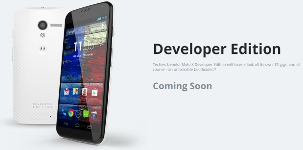 DNP Moto X 32GB Developer Edition surfaces, 'coming soon' with custom looks and unlockable bootloader