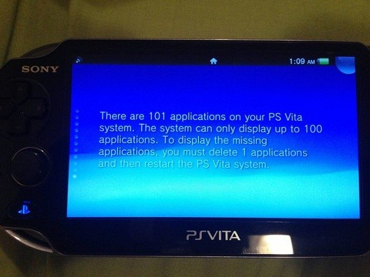 Report PS Vita 32GB can display 100 apps, no more
