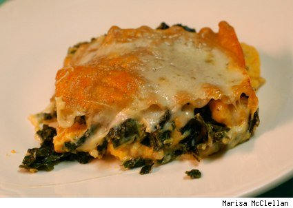 roasted pumpkin and creamed kale lasagna