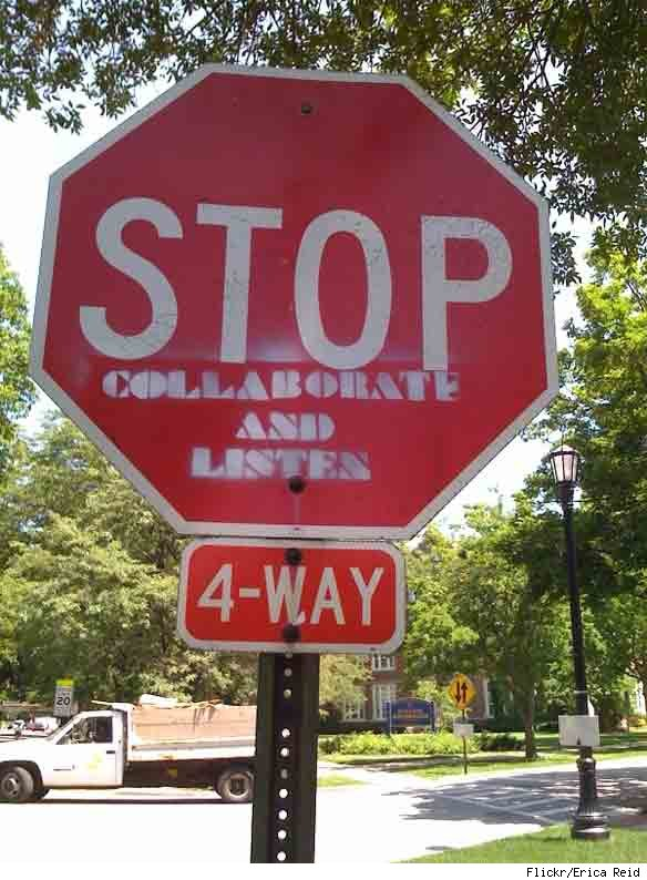 Hacked Altered Stop Signs Collaborate and Listen