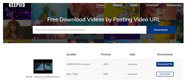 Download YouTube Video using KeepVid