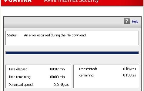 Avira - Ocorreu um erro no download