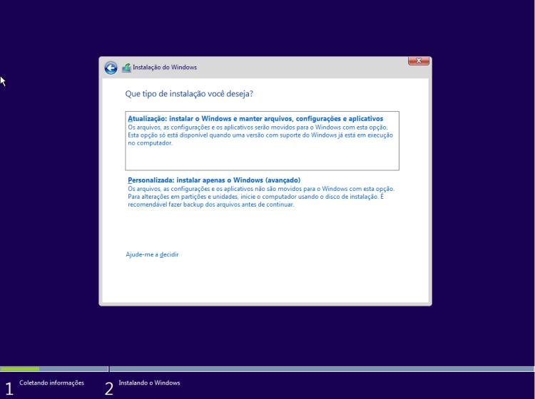 Windows 10 - Tipo de instalação