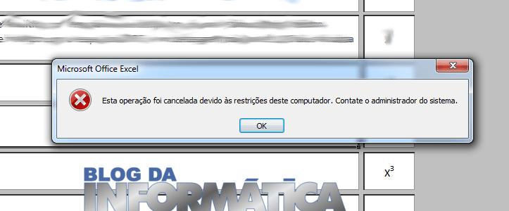 Esta operacao foi cancelada devido as restricoes desde computador