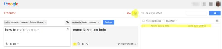 Google Tradutor - Salvar frases
