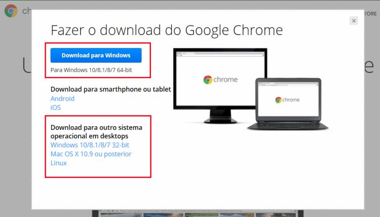 Chrome - Selecionar tipo de instalação