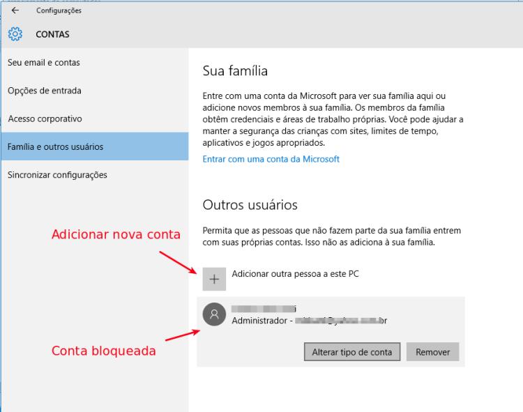 Configurações de contas de usuário