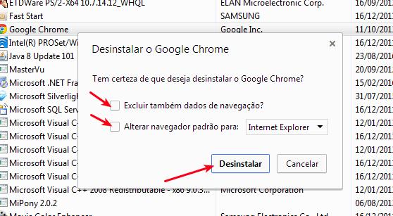 Confirmar desinstalação do Google Chrome