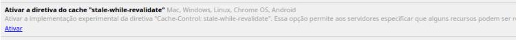 Chrome Flags - Diretiva de cache