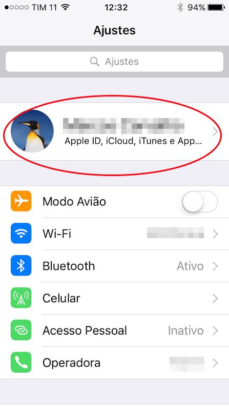 Acessar conta do iCloud