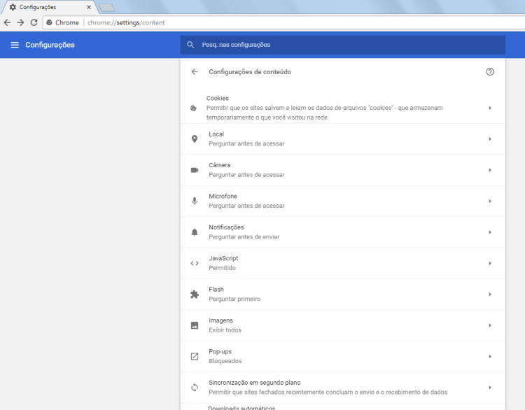 Chrome 59 - Configurações de conteúdo - 1