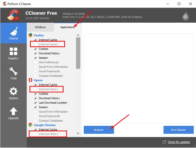 Excluindo os históricos de outros browsers