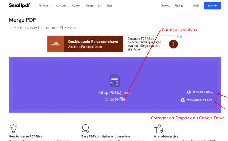 Como unir 2 ou mais arquivos pdf em arquivo nico blog da informtica smallpdf selecionar primeiro arquivo stopboris Images