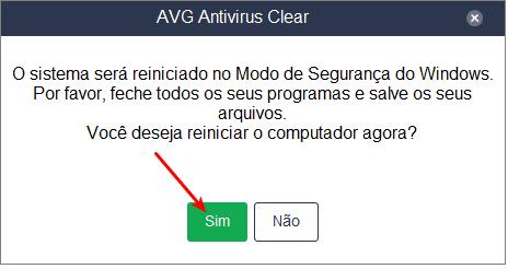Forçando o AVG Clear a reiniciar